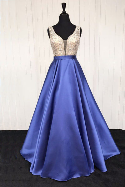 2019 Prom Dresses | Blue satin V neck long formal prom dress, long beaded evening dress
