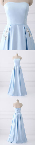 Sweet 16 Dresses | Fashion strapless light blue satin beaded long prom dress for teens