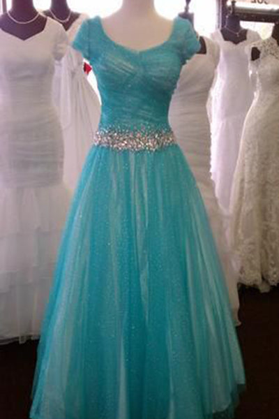 Sweet 16 Dresses | Beautiful blue tulle round neck A-line cap sleeves bridesmaid long dress