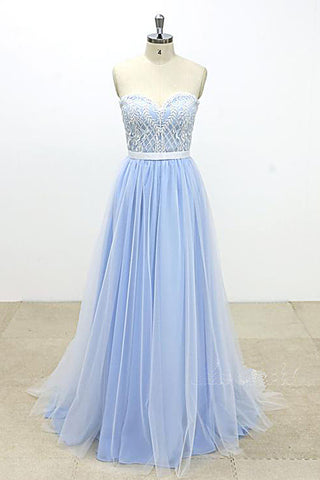 Aqua Blue And Ivory Tulle Strapless Long Prom Dress, Lace Wedding Dress