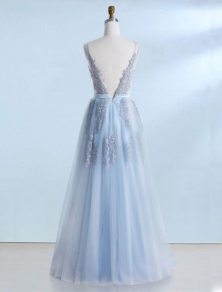 Sweet 16 Dresses | Blue tulle V neck long customize prom dress, long lace evening dress