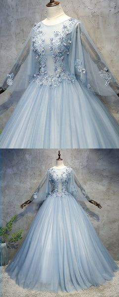 Sweet 16 Dresses | Blue grey tulle scoop neck long beaded formal prom dress with sleeves