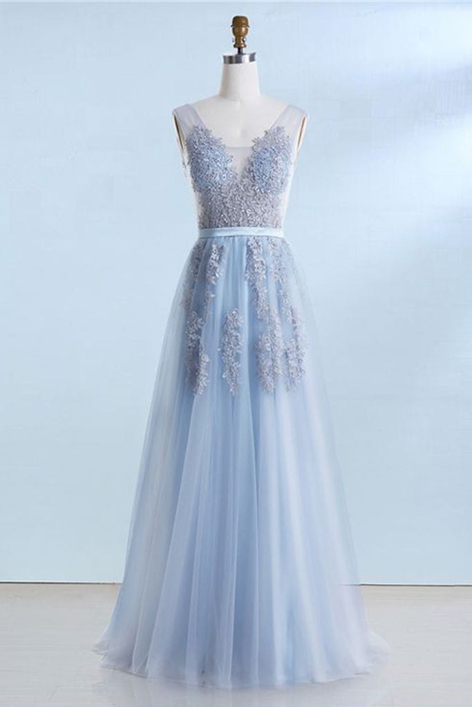 2019 Prom Dresses | Blue tulle V neck long customize prom dress, long lace evening dress