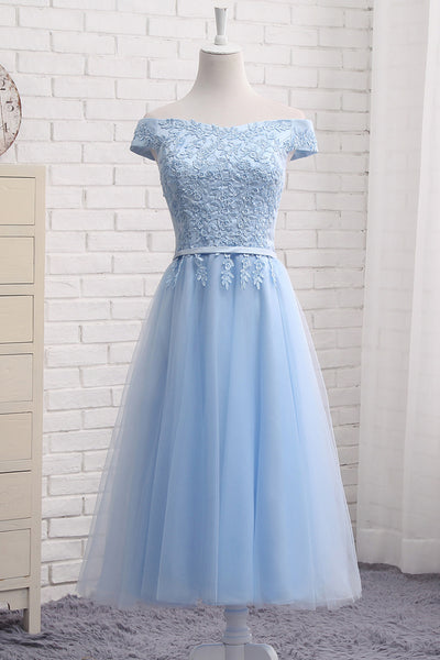 Sweet 16 Dresses | Blue tulle mid-leg length A-line prom dress, appliqués party dress