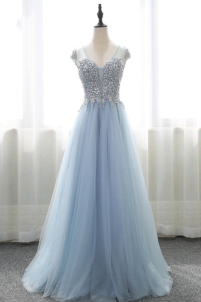 2019 Prom Dresses | Blue tulle V neck cap sleeves long A-line formal dress, blue long beaded prom dresses