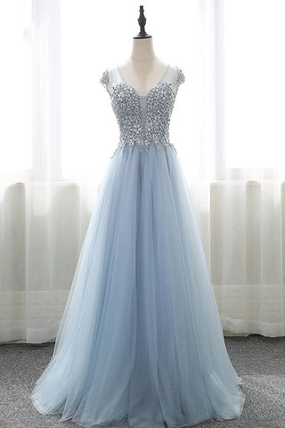 Sweet 16 Dresses | Blue tulle V neck cap sleeves long A-line formal dress, blue long beaded prom dresses