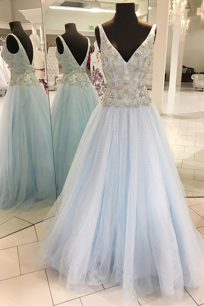 Spring fresh blue tulle V neck long silver sequins and beaded floor ...