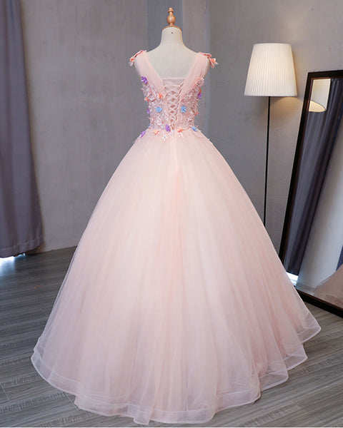Sweet 16 Dresses | Pink tulle floor length V neck long sweet 16 prom dress, long 3D flower lace appliqués graduation dress