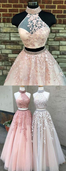 Sweet 16 Dresses | Blush pink tulle two pieces long open back silver beaded sweet 16 prom dresses