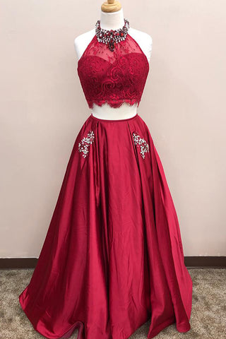 2018 burgundy lace top two pieces floor length A-line beading homecoming dress