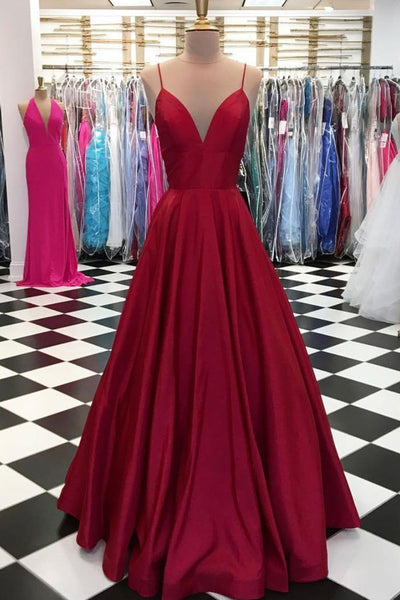 2019 Prom Dresses | Burgundy satin spaghetti straps long V neck evening dress, simple party dress