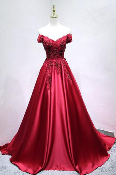 Sweet 16 Dresses | Burgundy satin off shoulder long senior prom dress, lace appliqués evening dress