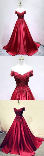 2019 Prom Dresses | Burgundy satin off shoulder long senior prom dress, lace appliqués evening dress
