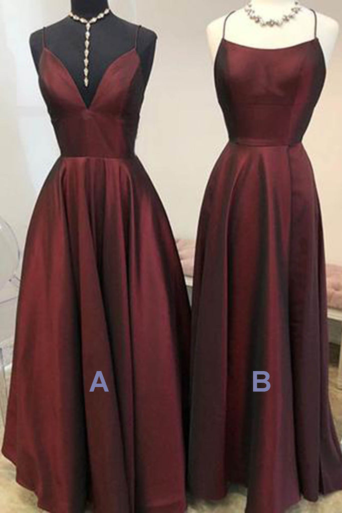 Sweet 16 Dresses | Dark red satin simple long A-line prom dress, long bridesmaid dresses