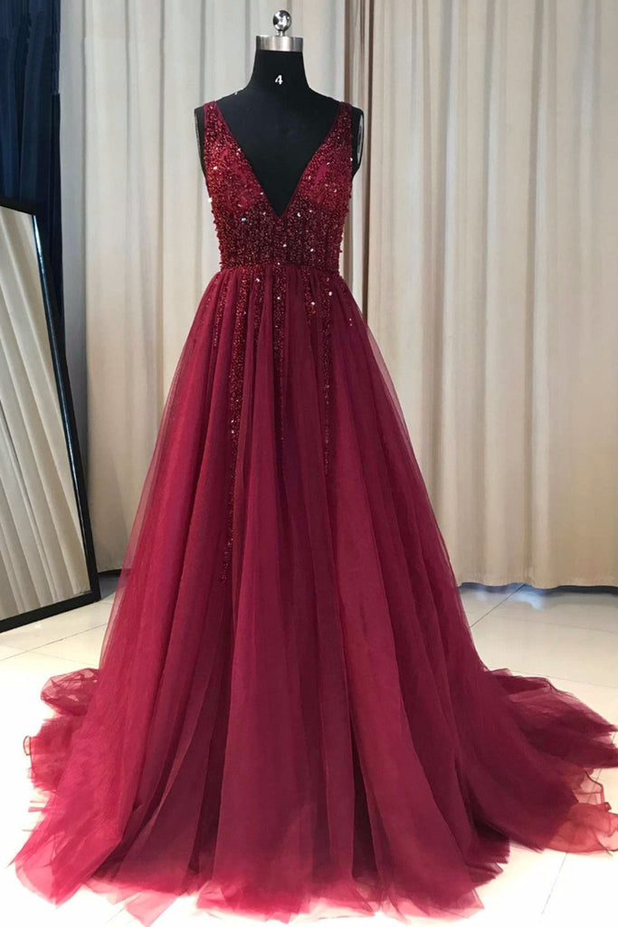 2019 Prom Dresses | Burgundy tulle V neck long crystal and sequins A-line evening dress, prom dress