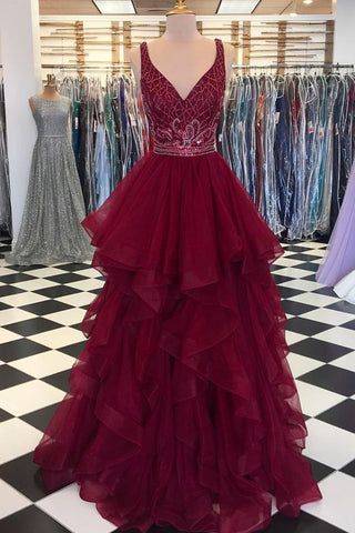 Sweet 16 Dresses | Burgundy tulle V neck crystal long ruffles A-line evening dress, long beaded party dress