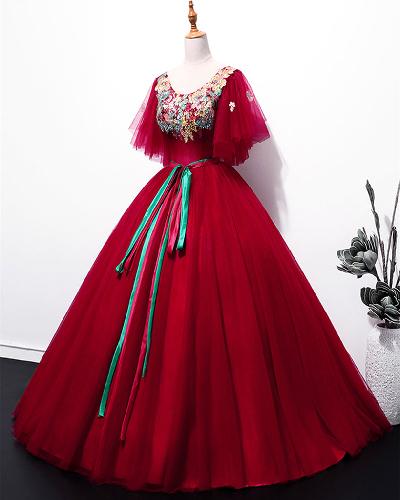 26db0502214 Red Tulle Embroidery Applique Short Sleeve Long Prom Dress ...