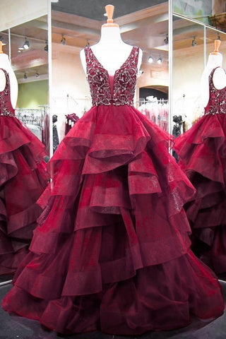 Sweet 16 Dresses | Burgundy Tulle Long Beaded Open Back Evening Dress, Layered Formal Prom Dress