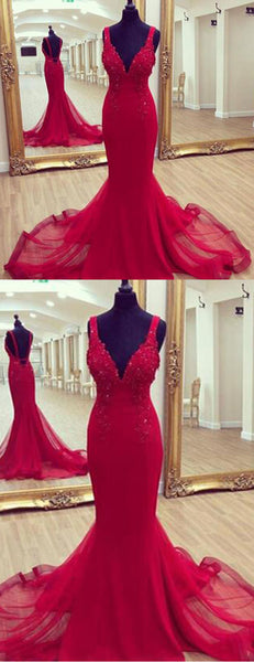 2019 Prom Dresses | Burgundy tulle open back long halter evening dress, long mermaid party dress