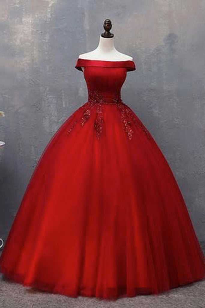 Red tulle off shoulder winter formal prom dress, red lace appliqué ...
