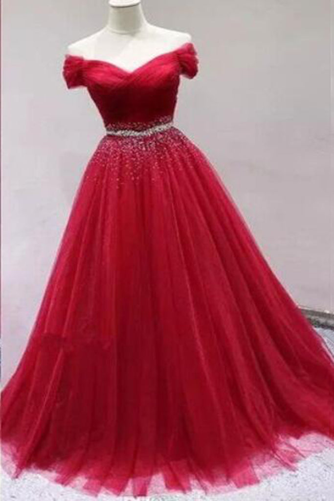 Sweet 16 Dresses | Stylish red tulle off shoulder long customize sweet 16 prom dress, long sequins party dress
