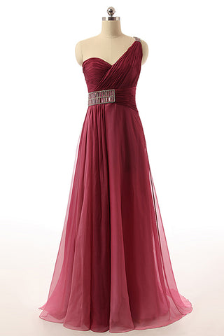 Sweet 16 Dresses | Burgundy Tulle Open Back One Shoulder A Line Evening Dress, Prom Dress