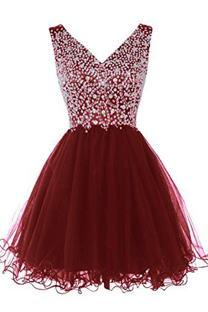 Red organza sequins beading A-line simple short prom dresses ,beautiful graduation dress - occasion dresses by Sweetheartgirls