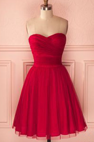 Simple burgundy tulle short bridesmaid dress, sweetheart prom dress for teens