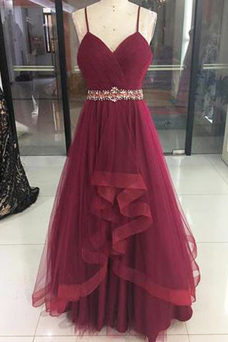 New coming burgundy tulle long ruffles A-line prom dress, long beaded homecoming dress