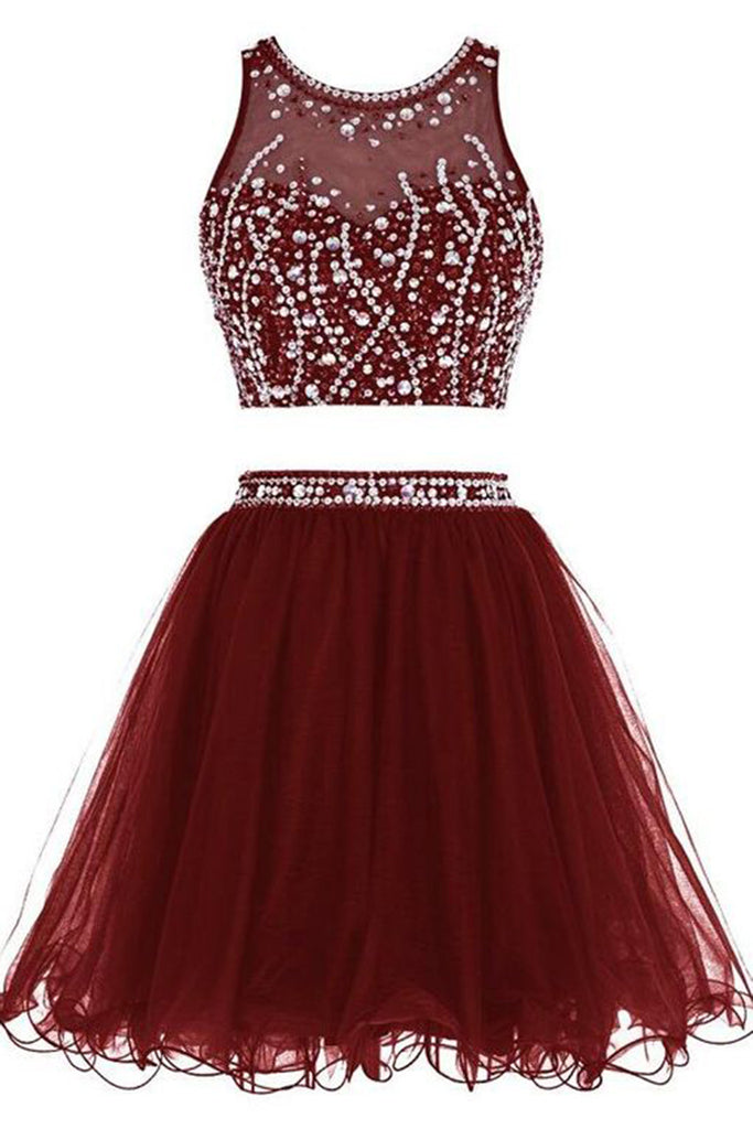 Burgundy organza two pieces beading A-line simple short prom dresses for teens - occasion dresses by Sweetheartgirls