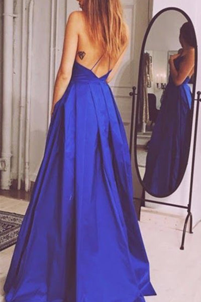 Royal blue satins V-neck A-line open back long dress,  new formal prom dress with spaghetti straps - prom dresses 2018
