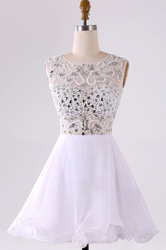 Prom 2020 | White chiffon beading A-line round neck simple short prom dresses for teens