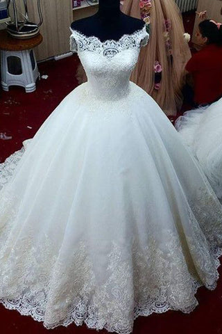 Sweet 16 Dresses | White organza lace applique off-shoulder A-line ball gown wedding dresses