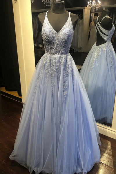 2021 New Light Blue Tulle Lace Open Back Long A Line Prom Dress Evening Dresses
