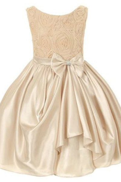 Prom 2020 | light gold satins lace A-line bowknot simple girls dress  with straps