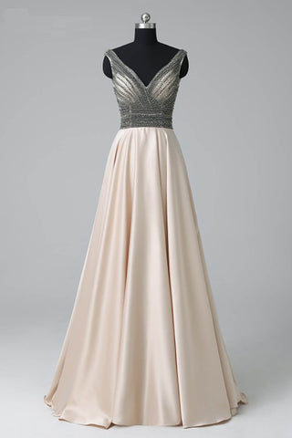 Sweet 16 Dresses | Champagne satin V neck long halter crystal senior prom dress, evening dress