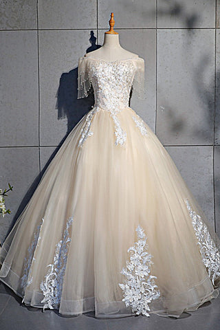 2019 Long Prom Dresses | 2019 Champagne Tulle Cap Sleeve Long Formal Prom Dress With Lace Applique
