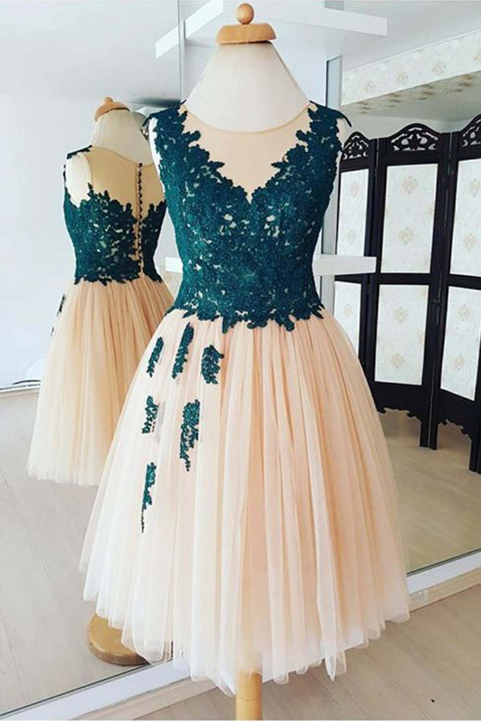 2019 Prom Dresses | Champagne tulle scoop neck knee length bridesmaid dress, lace prom dress