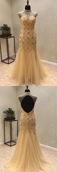 Sweet 16 Dresses | Stylish champagne tulle rhinestones high neck open back floor length mermaid evening dress, long formal prom dress