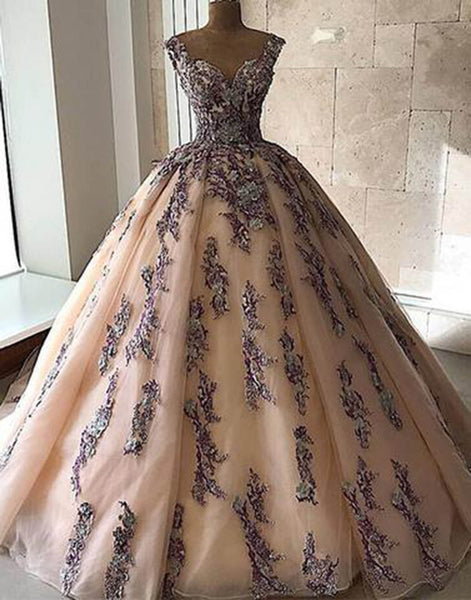 Sweet 16 Dresses | 2019 pink tulle sweetheart long A-line customize prom gown, long evening dress with lace applique