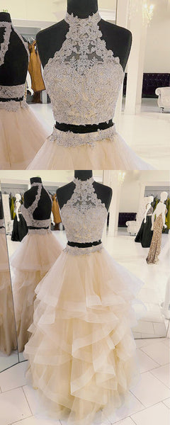 Sweet 16 Dresses | Champagne organza strapless two pieces long prom dress, long lace ruffles evening dress