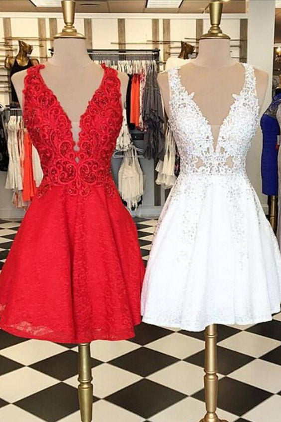 Sweet 16 Dresses | Lace v-neck A-line  simple short prom dresses for teens,party dresses with straps