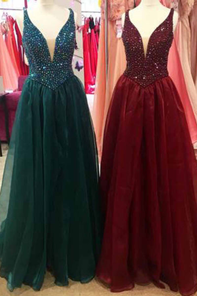 Sweet 16 Dresses | Spring dark green, burgundy tulle long V neck halter beaded evening dresses