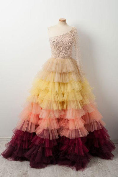 2019 Prom Dresses | Colorful tulle one sleeves long ball gown, long pearl evening dress