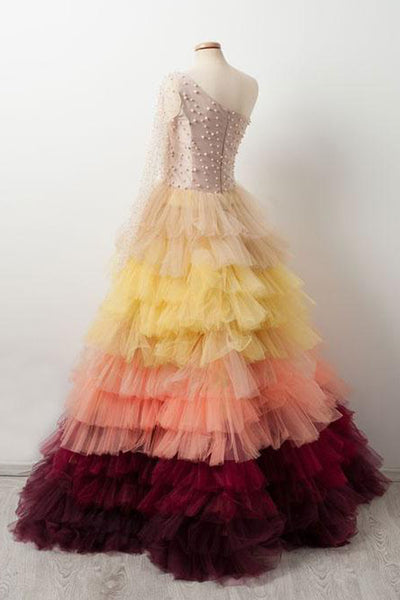 Sweet 16 Dresses | Colorful tulle one sleeves long ball gown, long pearl evening dress