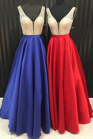 Unique royal blue, red satin long silver sequins V neck halter prom dresses for teens
