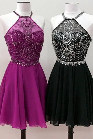Cute multi-color silver beaded high neck open back short party dresses