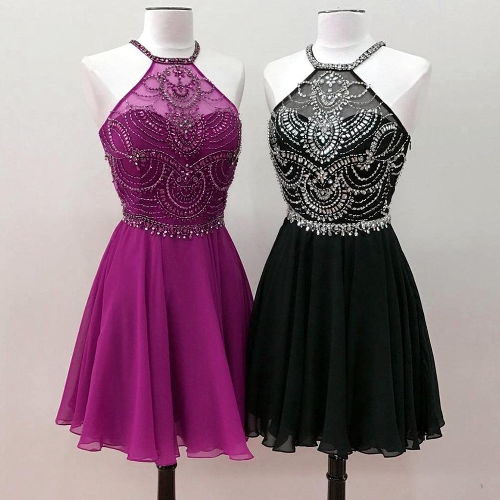 Cute multi-color silver beaded high neck open back short party ...