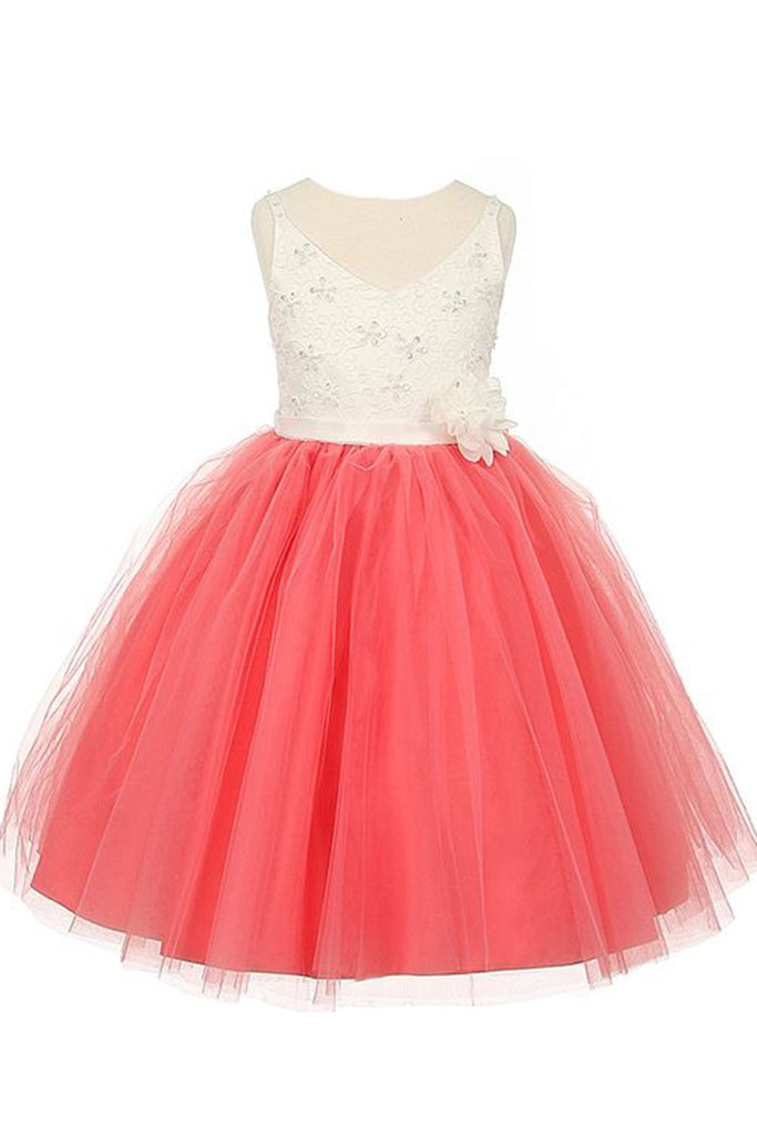 Coral organza A-line handmade flowers  girls dress  with straps - occasion dresses by Sweetheartgirls