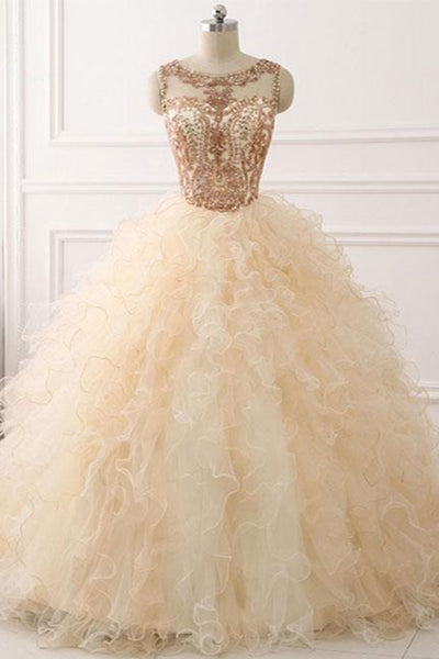 Sweet 16 Dresses | Unique creamy organza long customize beaded winter formal prom gown